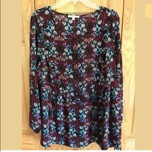 Gibson Latimer Floral Blouse w Ruffle, 2X, NWOT!